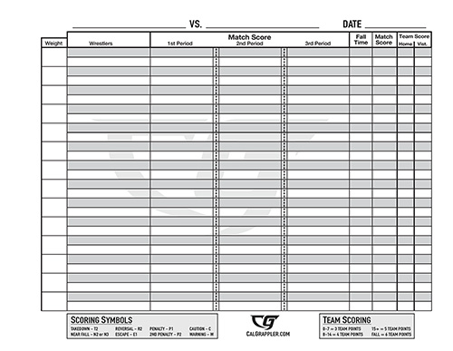 Coach Sheets CalGrappler The Home for California High School – Wrestling Score Sheet